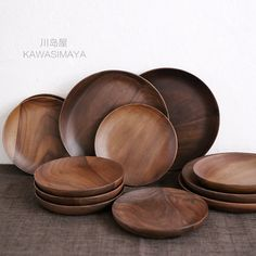 Japan Style Zakka wooden walnut tableware dishes plates wood small/middle wood fruit dessert plate & Fir wood plate Wooden plates Wood bowl Salad set Wooden dish ...