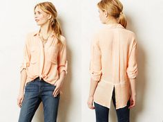 Anthropologie $88 SKYSCAPE BUTTONDOWN ~ Orange ~ XS ~ by Cloth & Stone ~ NEW - Tops & Blouses