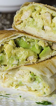 Chicken Avocado Burritos  - chicken wraps, chicken lunch recipes