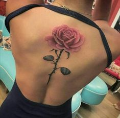 Rose tattoo back spine #TattooIdeasBack