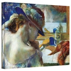 'In front of the Mirror' by Edgar Degas Gallery-Wrapped on Canvas