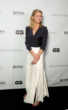 Elegant polka dots on Kirsten Dunst... could also work with wide leg pants instead of a skirt