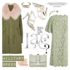 """lOVELY lACE mILITARY GREEn dRESS"" by ansev ❤ liked on Polyvore featuring Mr & Mrs Italy and Valentino"