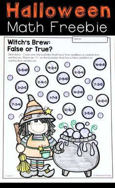 SAVED Free Halloween Math Activity for Kindergarten and First Grade Halloween Math Worksheets, Halloween Activities For Kids, Art Worksheets, Halloween Games, Printable Worksheets, Halloween Crafts, Halloween Ideas, Halloween Party, Kindergarten Math Activities
