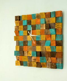 Wood wall Clock, reclaimed wood art clock, geometric, mosaic