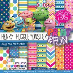 Henry Hugglemonster Digital Paper clip art characters Background Patterns for Party Printables bottle labels favor boxes