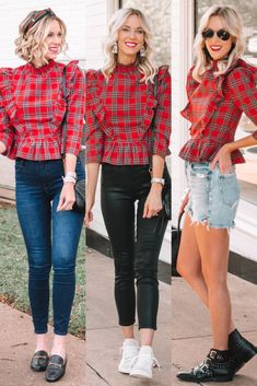 I love this gorgeous red plaid peplum shirt, and I have styled it multiple ways all year long.