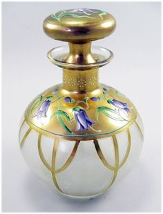 Antique ART Nouveau Moser Glass Perfume Scent Bottle Enamel Flower Decoration | eBay