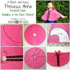 Easy Princess Anna Cape (or other dress up cape) - costs a couple dollars, is ready in minutes, and has a no-sew option!This Princess Anna Cape was so quick and easy, it makes the perfect DIY cape for kids. We've made many dress up costumes and share Anna Cape, Sewing For Kids, Baby Sewing, Free Sewing, Dress Up Outfits, Dress Up Costumes, Hero Costumes, Dresses, Sewing Tutorials