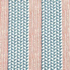 Aegean Stripe Indigo/Cinnamon, hand printed on 100% linen | Carolina Irving Textiles
