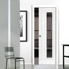 Single Pocket Phoenix White sliding door system in three size widths with Clear Glass. #contemporarypocketdoor #internalpocketdoor #glazedpocketdoor