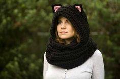 Hooded cat scarf Crochet Pattern