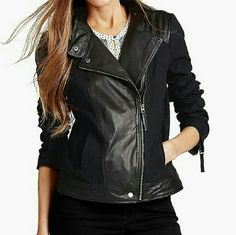 Lucky Brand Leather & Cotton Black Moto Jacket M This edgy jacket is made of real leather and cotton. It is brand new with tag and comes in a size medium. Lucky Brand Jackets & Coats Utility Jackets