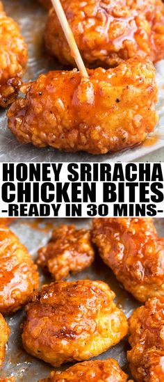 Baked HONEY SRIRACHA CHICKEN BITES, made with small crispy chicken pieces that are covered in sticky honey sriracha sauce. Quick and easy appetizer! From cakewhiz.com #appetizer #gameday #recipe #chickenrecipes #partyfood