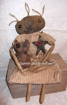PRiMiTive extreme grungy Doll w/ prim cat - 16 in. Country Doll Primitives