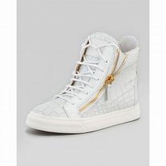 21860b1ee Giuseppe Zanotti Croc Embossed London Sneaker In White Men s High Top  Sneakers