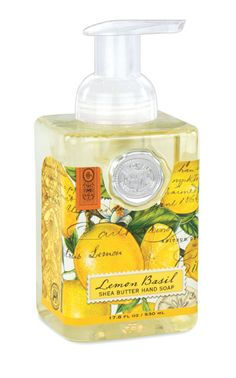 beautiful decorative foamer hand soap from michel design works. A generous size of foaming hand soap that contains shea butter and aloe vera for moisturizing. See full line of Michel Design Lemon Basil Gifts fl. / 530 ml liquid lemon basil Liquid Castile Soap, Liquid Hand Soap, Foaming Hand Soap Dispenser, Foaming Soap, Aloe Vera, Lemon Basil, Glycerin, Bath And Body Works, Grapefruit