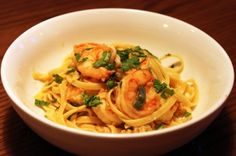 Spicy Shrimp and Fettuccini with Basil-Infused Lemon Sauce
