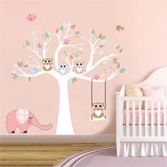 Αυτοκόλλητο τοίχου δέντρο με κουκουβάγιες νο3