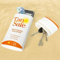 Simply Brilliant. Empty an old container of sunscreen and hide your valuable. Perfect for a day at the beach! fileremily