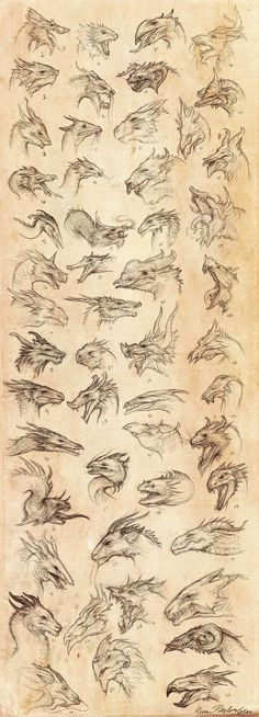 Dragon Heads by ~KatePfeilschiefter on deviantART...Wicked cool!! :D lovin no.48