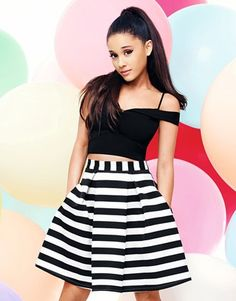 Ariana Grande For Lipsy Stripe Prom Skirt