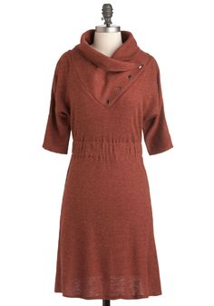 Academy Days Dress in Rust - Short, Solid, Casual, Sweater Dress, 3/4 Sleeve, Fall, Orange