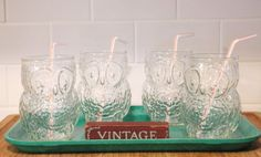 Vintage glassware, set of four Libbey owl juice glasses, mint condition, retro, great for cocktails, summery drinks, and back to school days