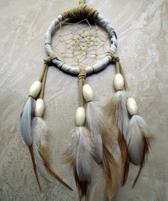 Dream Catcher  Beige and Ivory Feather Dream by peacefrogdesigns, $22.00