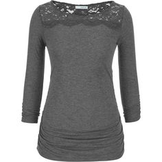 maurices Tee With Lace And Cinching ($20) ❤ liked on Polyvore featuring tops, t-shirts, grey, 3/4 sleeve tops, gray top, maurices, 3/4 sleeve t shirt and 3/4 sleeve tee