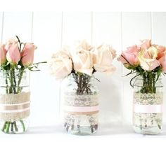 Mason Jar Vases and Votive Candles from recycled jars Deco Pastel, Deco Floral, Floral Design, Diy Flowers, Flower Vases, Flower Arrangements, Wedding Flowers, Yellow Flowers, Simple Flowers