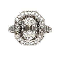 Anillo de diamante único estilo antiguo | Wimbledon desde Trompeta & Horn
