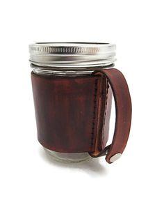 Brown Leather Mason Jar Cozy Sleeve || Cicada Leather Company via Etsy