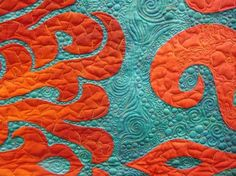 My color pallete of the day ....  Love the vibrant turquoise and orange in this Hawaiian quilt.