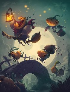 Cool art news- this piece has been accepted into Spectrum which comes out in November I've enjoyed the Spectrum books for years, and I'm honored they made room for frolicking pumpkins. Halloween Kunst, Halloween Artwork, Halloween Pictures, Happy Halloween, Art And Illustration, Illustrations Posters, Pop Art Wallpaper, Cg Art, Game Art