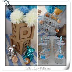 Blue teddy bear baby shower party! See more party planning ideas at CatchMyParty.com!