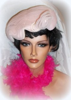 Vintage 1944 pink tulle womens hat by Duchess by KathysLittleAttic, $25.00