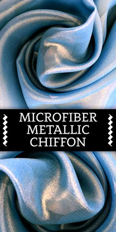 Microfiber Metallic Chiffon with Gold Thread in Tropical Blue Types Of Silk Fabric, Different Types Of Fabric, Kinds Of Fabric, Fabric Textures, Fabric Patterns, Sewing Patterns, Textile World, Fabric Board, Geometric Fashion