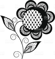 abstract sunflower logo, black and white royalty-free stock vector art