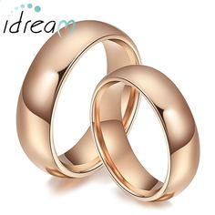 Rose Gold Plated Tungsten Wedding Bands Set, Domed Rose Gold / Gold / Black Tungsten Carbide Wedding Ring Band - 4mm - 6mm, Matching Couple Jewelry for Him and Her