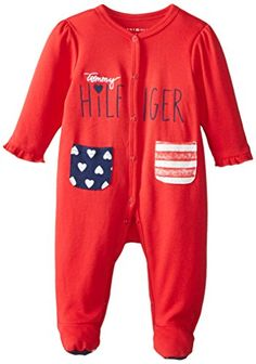 2548075d Tommy Hilfiger BabyGirls Newborn Sleeper with Front Pockets Red 03 Months  >>> Click on