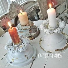 Candle holders from vintage light fixtures. Great idea!