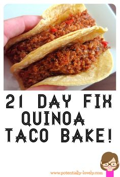 I loooooove me some Mexican food! It usually don't have a place when eating well. Until you switch around your thinking, that is. This quinoa dish is easy, cheap and delicious. It's also an approved 21 Day Fix vegetarian recipe!   I like to make it and eat as tacos with a little bit of …