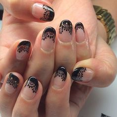 ногти вуаль колготки кружева френч nail design lace