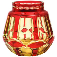 Art Deco Ruby over Yellow Uranium Cut-Glass Vase by Val St Lambert VSL | From a unique collection of antique and modern glass at https://www.1stdibs.com/furniture/dining-entertaining/glass/