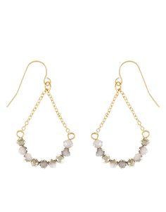 Glass Bead Chain Hoop Earrings