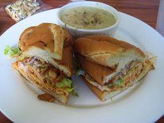buffalo chicken sandwich, new england clam chowder by calamity_hane, via Flickr