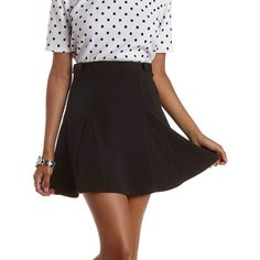 Charlotte Russe Black Button-Tab Skater Skirt by Charlotte Russe at... ($22) ❤ liked on Polyvore