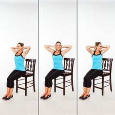 While sitting, keep your spine tall and exhale as you rotate, inhale as you return to center and no one will know you're working your abs!