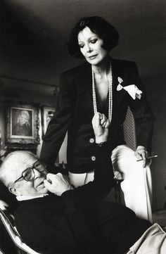 Billy Wilder and his wife Audrey at their home in Los Angeles, 1985 by Helmut Newton.